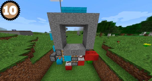 Схема (10) постройки двери 3 на 3 в Майнкрафт
