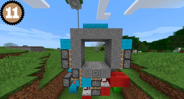 Схема (11.1) постройки двери 3 на 3 в Майнкрафт